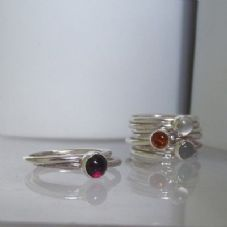 Gorgeous Handmade Bezel Set Garnet Solid Silver Stacking Ring FREE 2nd Ring